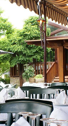 Terraza exterior cubierta para verano e invierno. Restaurante Monte Vélez