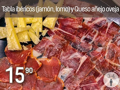 Plato de Jamón Ibérico, Lomo Iberico y queso añejo 100 % de oveja. Prepración especial de Navidad Monte Velez 2020