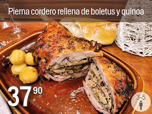 Pierna de Cordero rellena de boletus y quinoa. Prepración especial de Navidad Monte Velez 2020